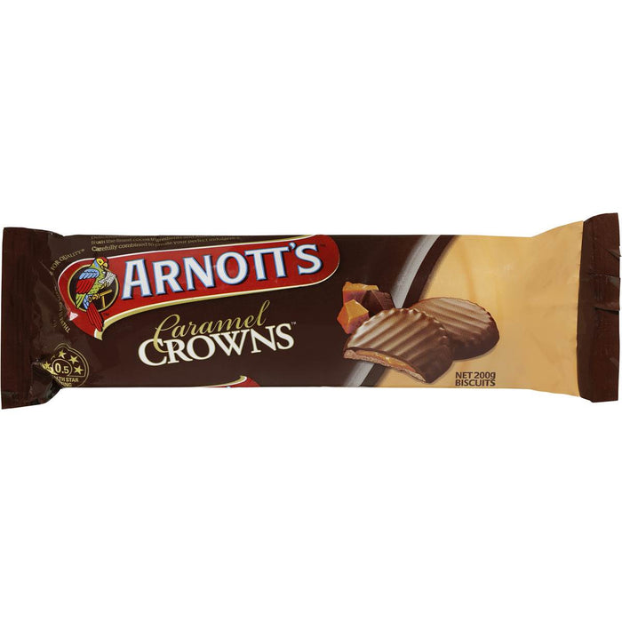 ARNOTTS CHOCOLATE CARAMEL CROWNS 200G
