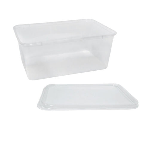 CLEAR PLASTIC CONTAINER PLUS LIDS 1000ML 50PK