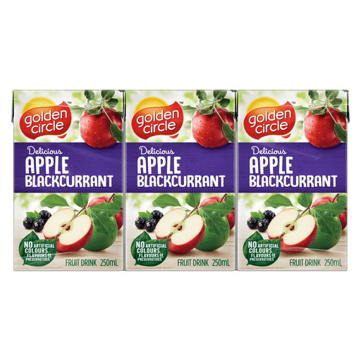 GOLDEN CIRCLE JUICE BOX APPLE BLACKCURRANT 6PK 250ML