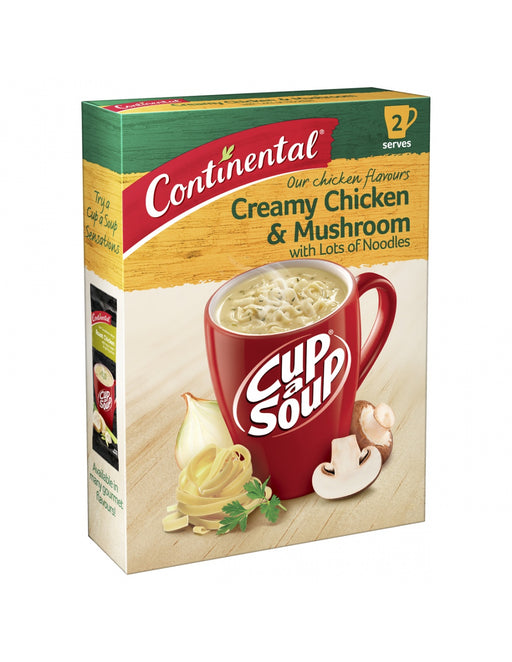 CONTINENTAL CREAMY CHICKEN & MUSHROOM LOTS OF NOODLES CUP A SOUP 2PK 55G