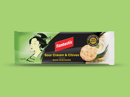 Fantastic Sour Cream And Chives Rice Crackers 100G