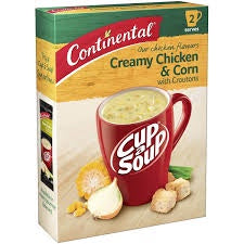 CONTINENTAL CREAMY CHICKEN & CORN CUP A SOUP 2 SERVES 60G