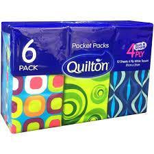 Quilton Pocket Pack Tissues 6Pk