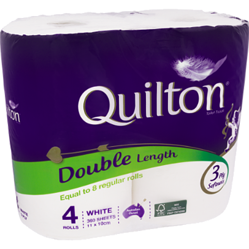 Quilton Double Length Toilet Tissue 3Ply 4Pk