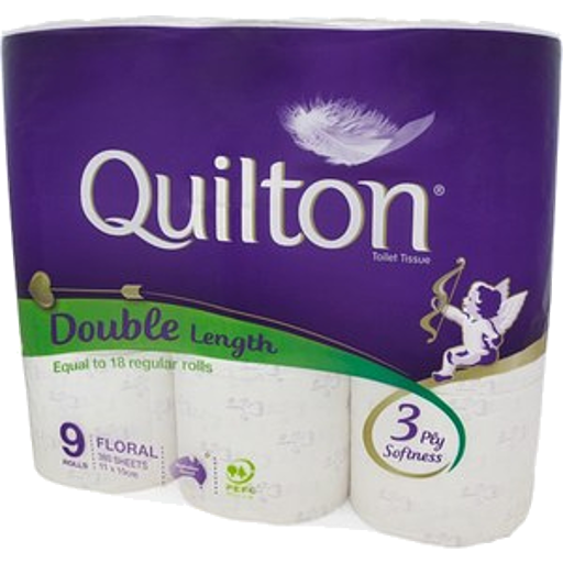 Quilton Double Length Toilet Tissue 3Ply 9Pk