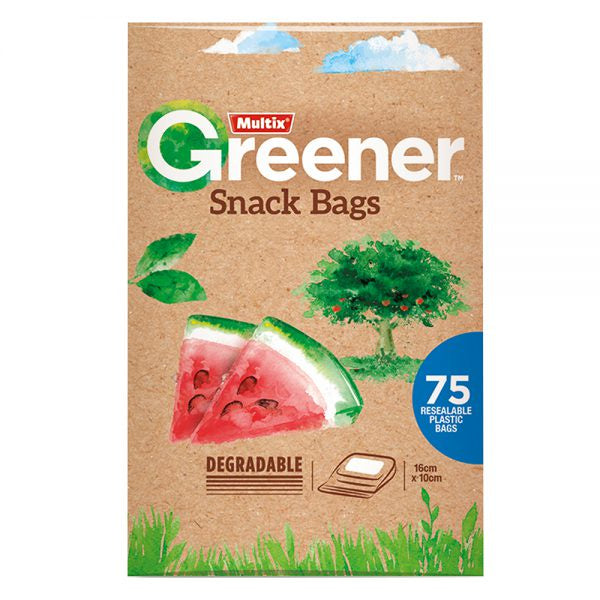 Multix Greener Resealable Snack Bags 75Pk 16X10Cm