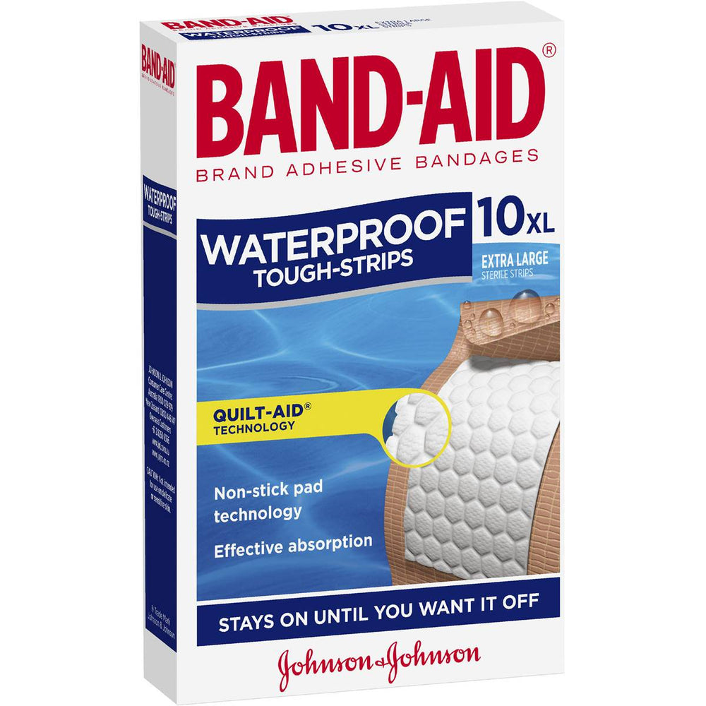 Band-Aid Brand Tough Strips Waterproof Extra Large 10Pk