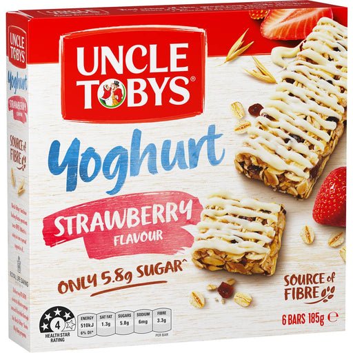 Uncle Tobys Yoghurt Tops Strawberry Muesli Bar 6Pk 185Gm