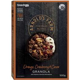ARNOLDS FARM ORANGE CRANBERRY AND COCOA GRANOLA 500G