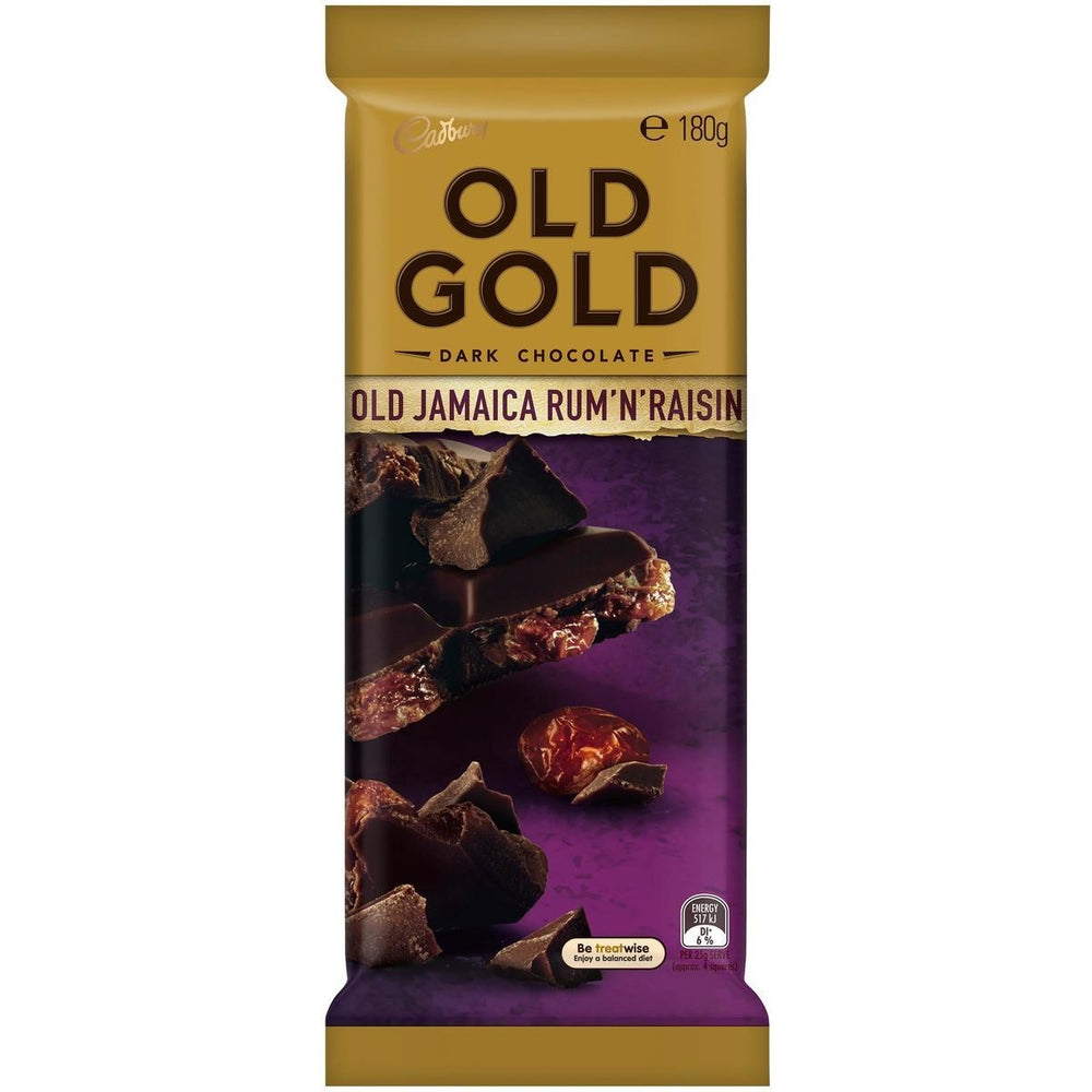 CADBURY OLD GOLD DARK CHOCOLATE OLD JAMAICA RUM 'N' RAISIN 180G
