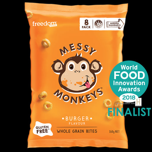 Freedom Foods Messy Monkeys Whole Grain Bites Burger 8Pk 160G
