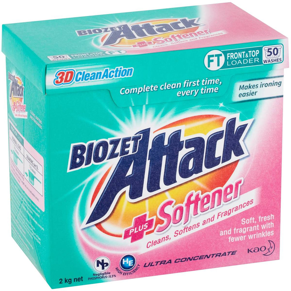 BIOZET ATTACK LAUNDRY POWDER W SOFTENER 2KG