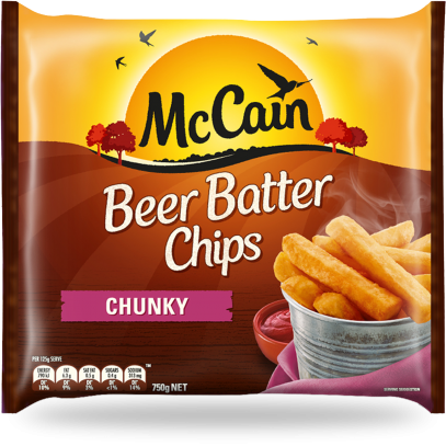 MCCAIN BEER BATTER CHIPS THICK & CHUNKY 750G