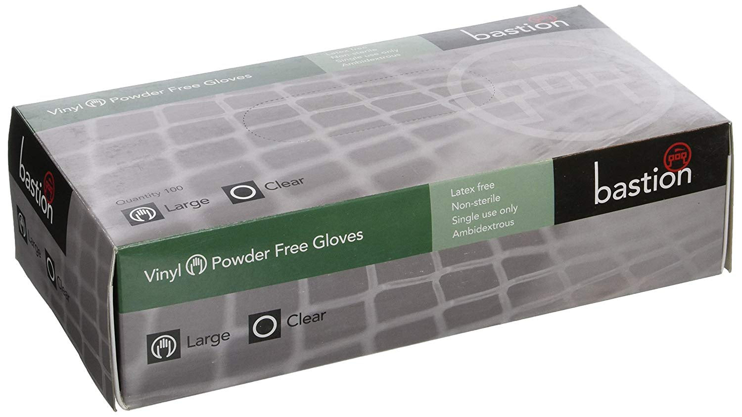 Bastion Gloves Vinyl Powder Free Clear Large 100Pk