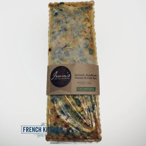 IVANS TART RECTANGLE SPINACH SUNDRIED TOMATO AND FETA 800G