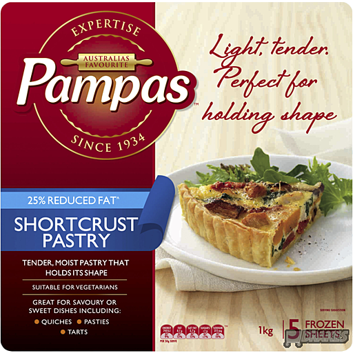 Pampas Shortcrust Pastry 5 Sheets 1Kg