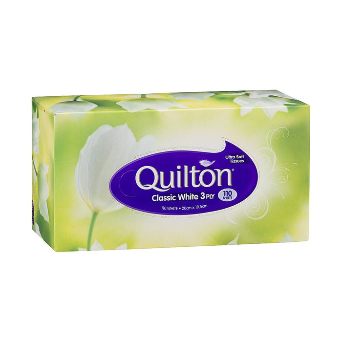 QUILTON WHITE FACIAL TISSUE 3PLY 110PK