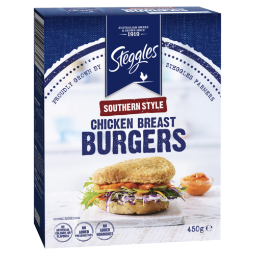 Steggles Southern Style Chicken Breast Burgers 450G