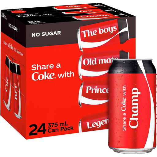 COCA COLA CANS NO SUGAR 24 PACK 375 ML