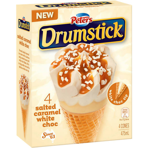 PETERS DRUMSTICK SALTED CARAMEL AND WHITE CHOC 4PK