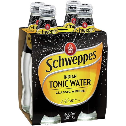 Schweppes 300Ml Glass Bottle 4Pk Tonic Water