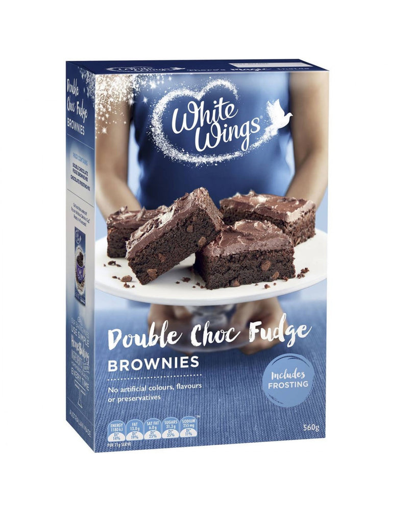 WHITE WINGS DOUBLE CHOC FUDGE BROWNIE MIX 560G