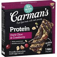 Carmans Dark Choc And Cranberry Protein Bar 5 Pack