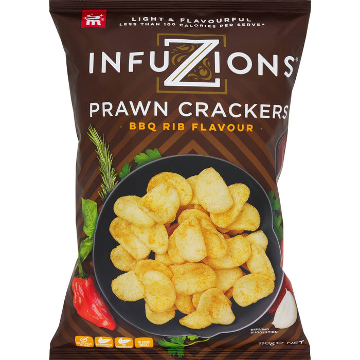 INFUZIONS PRAWN CRACKERS BBQ RIB 110G