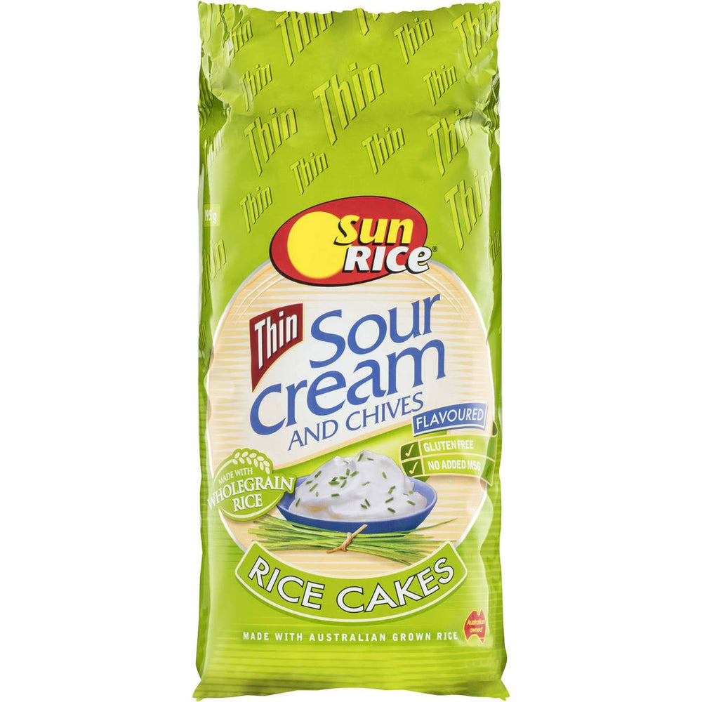 SUNRICE RICE CAKES SOUR CREAM AND CHIVE 195G