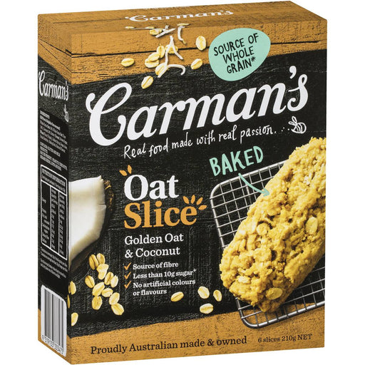 Carmans Golden Oat And Coconut Slice 6 Pack