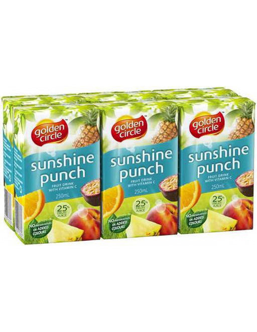 GOLDEN CIRCLE JUICE BOX SUNSHINE PUNCH 6PK 250ML