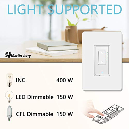 Smart Dimmer Switch By Martin Jerry | Smartlife App, Mains Dimming Only,  Compatible With Alexa As Wifi Light Switch Dimmer, Single Pole, Works With