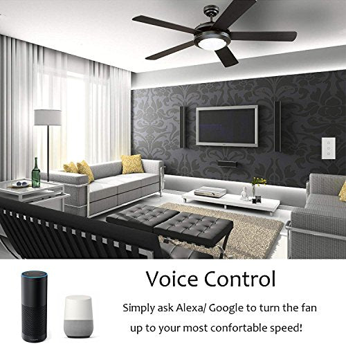 Smart Fan Speed Control Compatible With Alexa And Google Assistant, Ifttt,  Wifi Enabled Variable Ceiling Fan Switch, In Wall, Touch Panel, No Hub