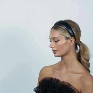 Bianca Black Leather Headband-Headband-[hair band]-Alice & Blair