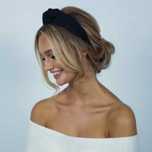 Lara Knotted Headband - Black Lace-Headband-[hair band]-Alice & Blair