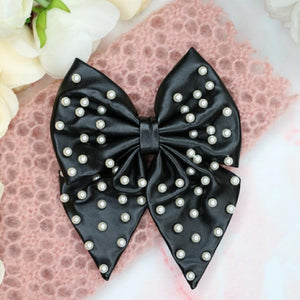 Liliane Leather Pearl Hair Bow Hair Tie - Alice and Blair
