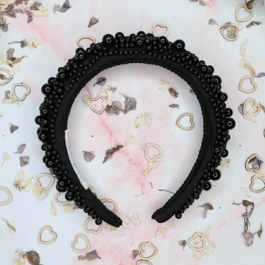 Penelope Black Pearl Headband Headband - Alice and Blair