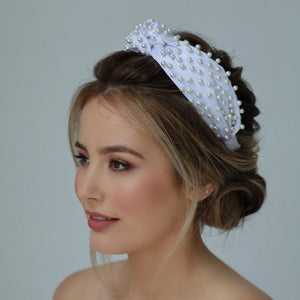 Sasha Silk Pearl Headband-Headband-[hair band]-Brilliant White-Alice & Blair