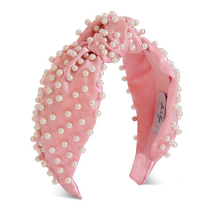 Sasha Silk Pearl Headband-Headband-[hair band]-Pink-Alice & Blair