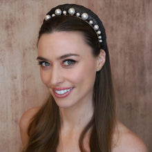 Load image into Gallery viewer, Selene Gold Pearl Crown Headband - Alice and Blair
