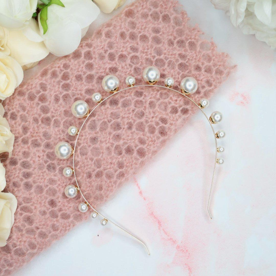 Selene Gold Pearl Crown Headband - Alice and Blair