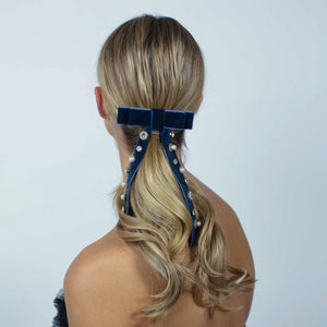 Serena Velvet Lux Bow Hair Tie - Alice and Blair