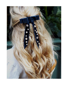 Serena Velvet Lux Bow-Hair Tie-[hair accessories]-Alice & Blair