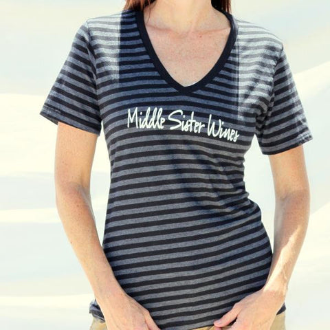 Middle Sister Striped V-Neck Tee