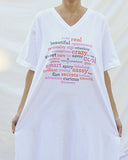 Wine Sisterhood Words Night Shirt with Matching Backpack-Style Bag