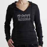 Wine Sisterhood Black Long Sleeve V-neck With Hoodie