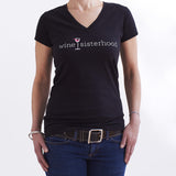 Black Short Sleeve V-neck Tee
