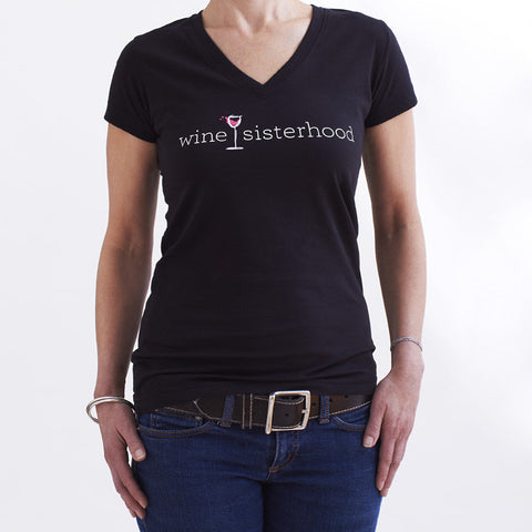 Wine Sisterhood Black Short Sleeve V-neck Tee