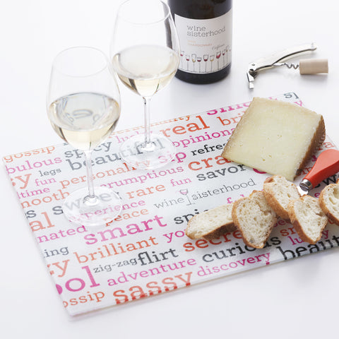 Wine Sisterhood Glass Cutting Board