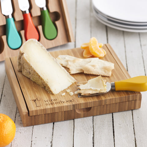 Picnic Time Cutting Board with Colorful Cheese Knives